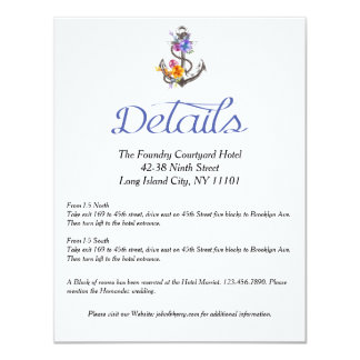 """Dirección floral de los detalles del ancla náutica invitación 4.25"""" x 5.5"""""""