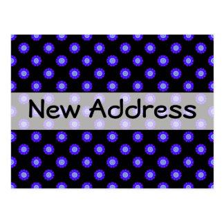 dirección floral del negro azul nueva tarjeta postal