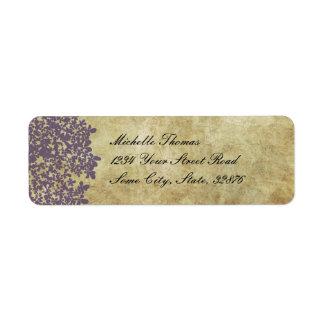Dirección floral púrpura del boda del vintage etiquetas de remite