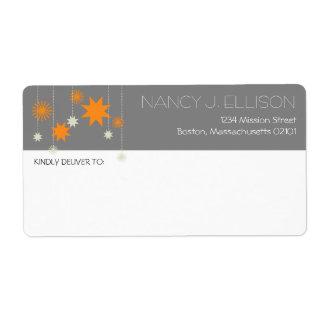 Dirección moderna gris anaranjada de la chispa de  etiqueta de envío