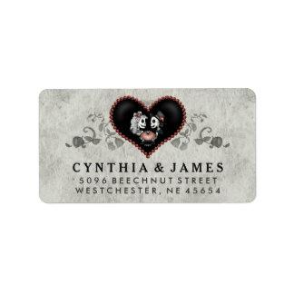 Dirección negra y blanca gris del boda del corazón etiquetas de dirección