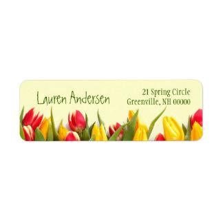 Dirección personal floral de los tulipanes colorid etiqueta de remite