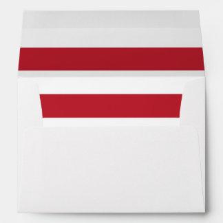 Dirección personalizada sobre blanco rojo de la