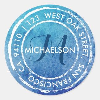 Dirección redonda rústica azul del monograma el | pegatina redonda