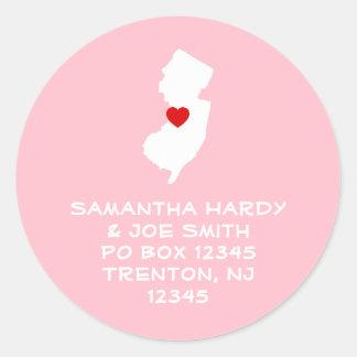Dirección roja de New Jersey del corazón Pegatina Redonda