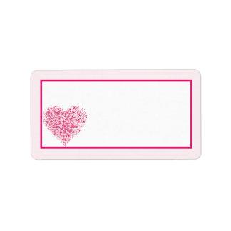 Dirección rosa clara del correo del boda del coraz etiqueta de dirección
