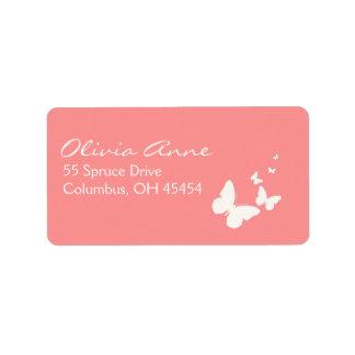 Dirección rosada y blanca Lables de la mariposa Etiquetas De Dirección