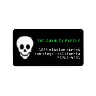 Dirección verde tóxica de Halloween del cráneo del Etiquetas De Dirección
