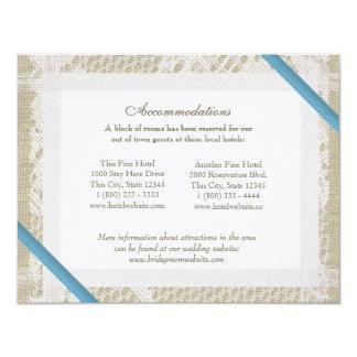Direcciones azules del cordón y de la arpillera invitación 10,8 x 13,9 cm