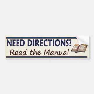 ¿Direcciones de la necesidad?  Lea el manual Etiqueta De Parachoque
