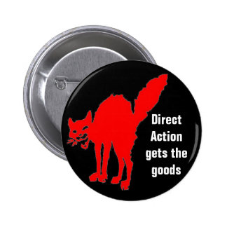 direct action gets the goods pinback button