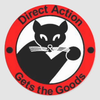 direct action gets the goods sticker