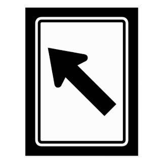 Directional Arrow Oblique Right, Traffic Sign, USA Postcard