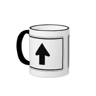 Directional Arrow Up, Traffic Sign, USA Ringer Mug