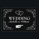 "Directional wedding yard sign | Black and white<br><div class=""desc"">Elegant black and white wedding yard sign pointing right. Help guests find their way to your reception party. Classy design with ornate swirly corners, interlocking hearts and name of bride and groom. Fancy script typography. Also available for left direction. Personalizable directional road signage board. Also handy for parking or cocktail...</div>"