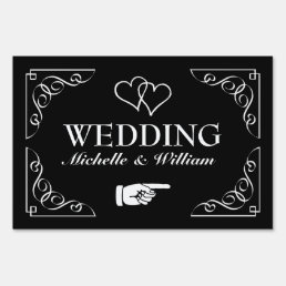 Directional wedding yard sign | Black and white