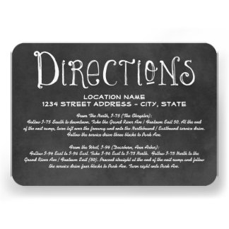 Directions Card | Black Chalkboard Charm