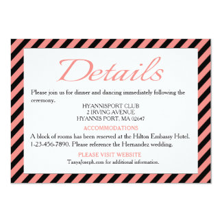 Directions / Details Pink & Black Stripe Wedding Card
