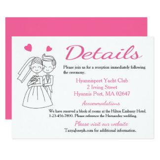 Directions / Details Pink Bride & Groom Wedding Card