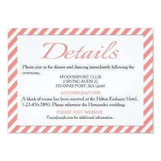 Directions / Details Pink & White Stripe Wedding Card
