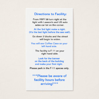 Directions to Facility in Okinawa Business Card