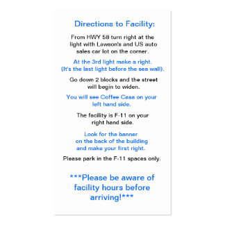 Directions to Facility in Okinawa Double-Sided Standard Business Cards (Pack Of 100)