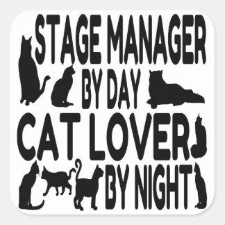 Director de escena del amante del gato calcomanía cuadrada