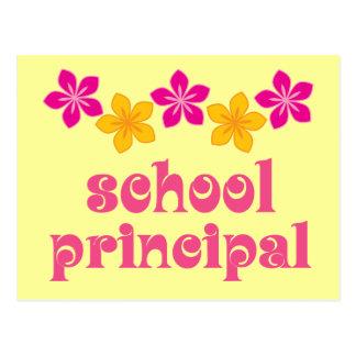 Director de escuela florecido tarjeta postal
