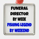 Director de funeraria de la leyenda de la pesca ornamento para arbol de navidad