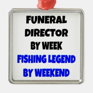 Director de funeraria de la leyenda de la pesca adorno cuadrado plateado