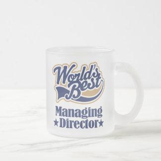 Director de gerente regalo para (mundos mejor) taza de café esmerilada