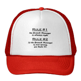 Director de sucursal de la regla gorro de camionero