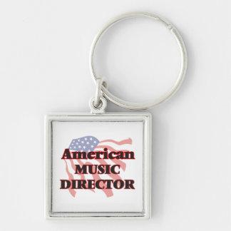 Director musical americano llavero cuadrado plateado