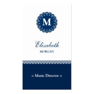 Director musical - monograma azul elegante del cor tarjetas de visita