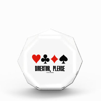 Director, Please (Four Card Suits Bridge Game) Acrylic Award