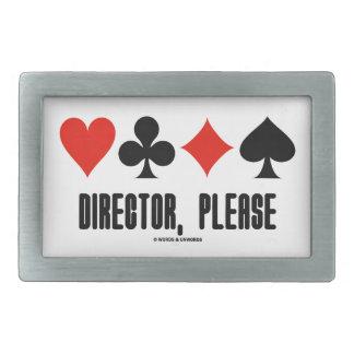 Director, Please (Four Card Suits Bridge Game) Rectangular Belt Buckle