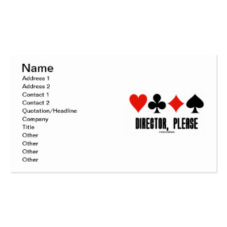 Director, Please (Four Card Suits Bridge Game) Business Cards