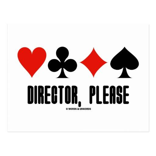 Director, Please (Four Card Suits Bridge Game) Postcards