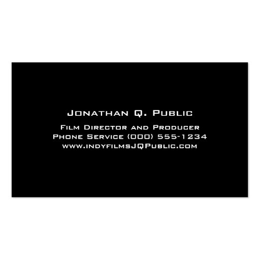 Director Producer Business Card Template (back side)
