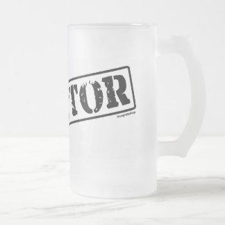 Director Stamp Frosted Glass Beer Mug