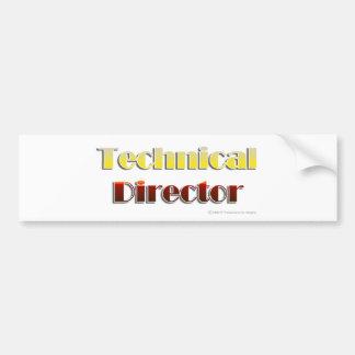 Director técnico (texto solamente) pegatina de parachoque
