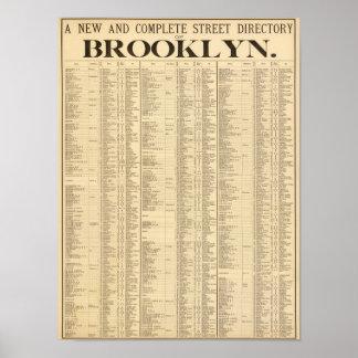 Directorio de calle de la 1ra página de Brooklyn Póster