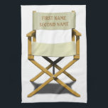 "Directors chair design with your choice of name towel<br><div class=""desc"">Add any name to this classic and unique Glory Film Co. design. Great gift for anyone who like movies.</div>"