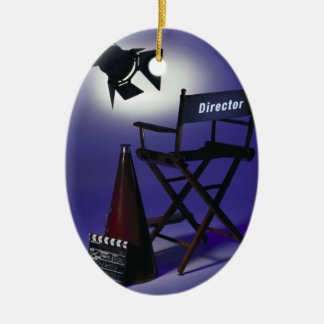 Director's Slate, Chair & Stage Light 2 Ceramic Ornament
