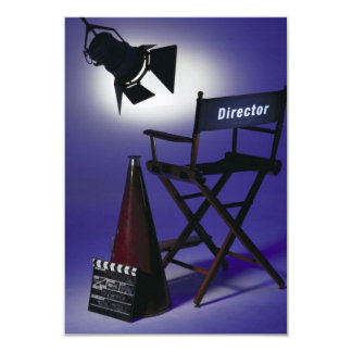 Director's Slate, Chair & Stage Light 2 3.5x5 Paper Invitation Card