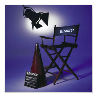 Director's Slate, Chair & Stage Light 2 5.25x5.25 Square Paper Invitation Card