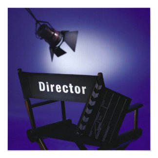 Director's Slate, Chair & Stage Light 5.25x5.25 Square Paper Invitation Card