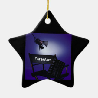 Director's Slate, Chair & Stage Light Double-Sided Star Ceramic Christmas Ornament