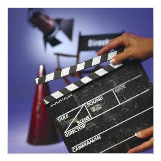 Director's Slate 5.25x5.25 Square Paper Invitation Card