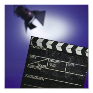 Director's Slate & Stage Light 5.25x5.25 Square Paper Invitation Card